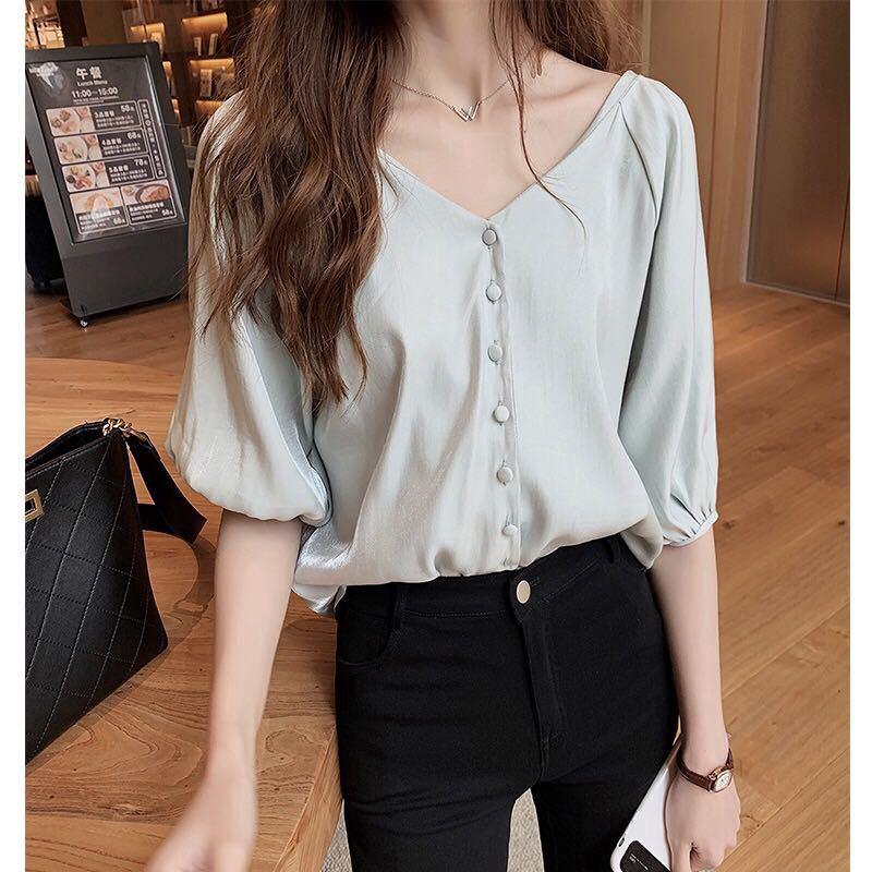 Summer Korean Fashion Loose Chiffon Top Women Short-sleeved Shirt Solid Color Blouse