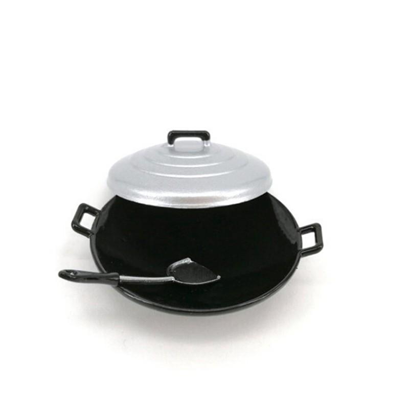 Coagulatepower 3Pcs/set 1:12 dollhouse miniature kitchen wok pot cover pancake turner toys