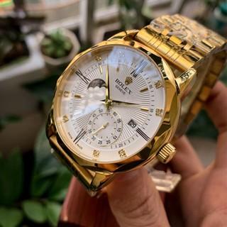 Đồng hồ Nam Rolex máy nhật, mẫu 3kim viền vàng (hồng) dây da và dây kim loại, dòng cơ Automatic size 40mm-41mm thumbnail