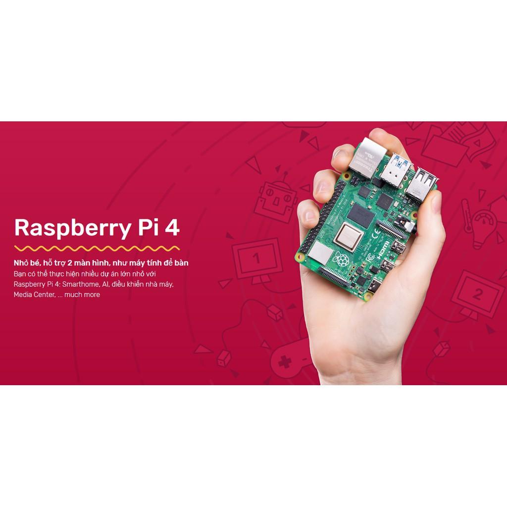 Máy Tính Raspberry Pi 4 2GB/4GB/8GB Made In UK, Bảo Hành 1