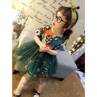 Đầm công chúa bé gái họa tiết hoa nhiều màu CTF023 - Màu: Xanh đậm