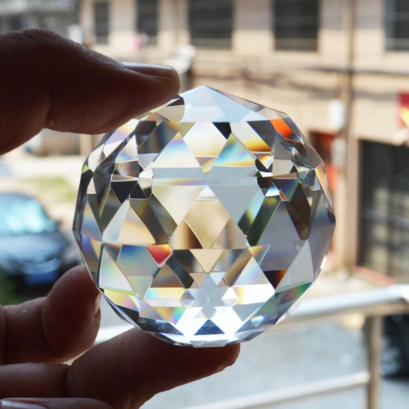 BLM❤Clear Crystal Sphere 25-60mm Faceted Gazing Ball Prisms Suncatcher Home Decor