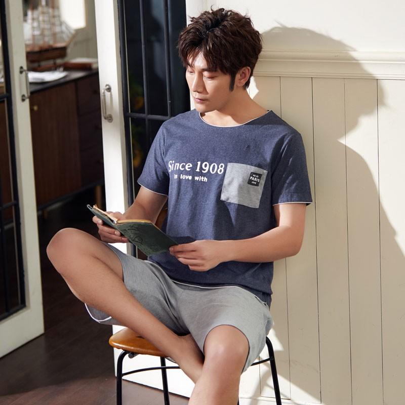 2019 ชุดนอนฤดูใบไม้ผลิและฤดูร้อนของผู้ชายหลวมกางเกงขาสั้นแขนสั้นเวอร์ชั่นเกาหลีชุดวอร์มน่ารัก 764 # 263 #  