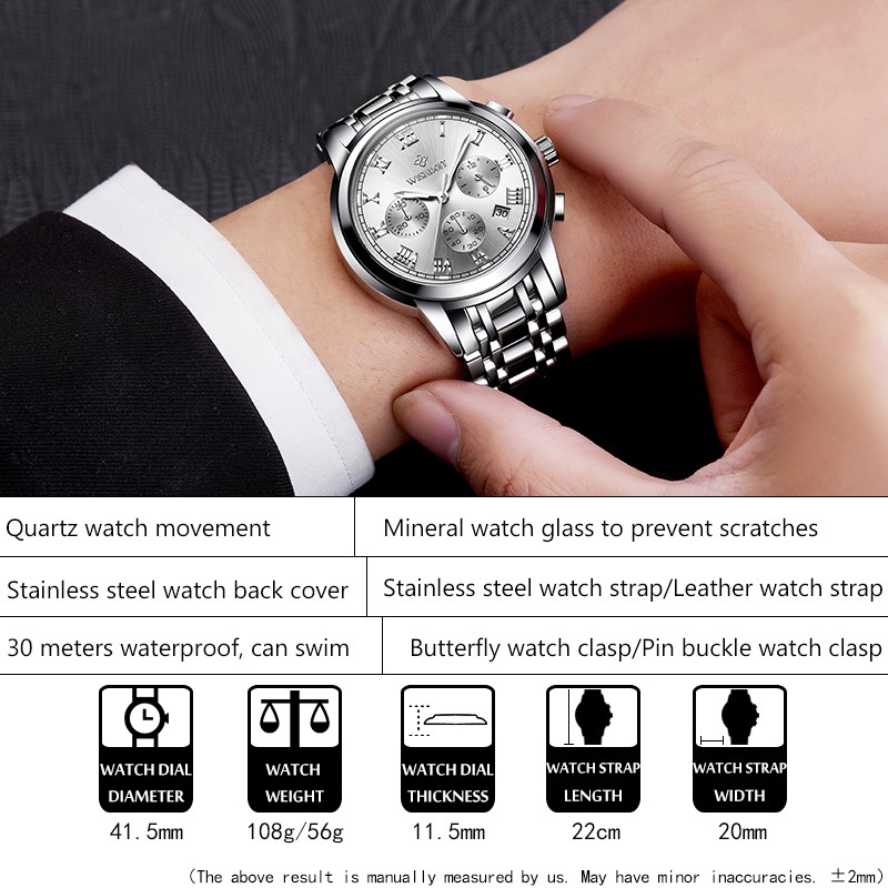 Đồng hồ cơ bằng thép không gỉ phong cách doanh nhân năng động chống thấm nước