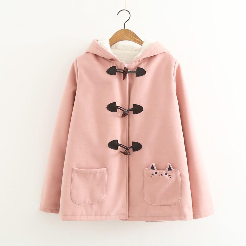 Áo khoác nữ, dày dặn, lót bông, dáng ngắn, chất liệu dạ, dễ kết hợp, phong cách Nhật Bản, phong cách học sinh, kiểu dáng