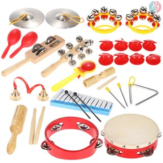 E&M Percussion Set Kids Children Toddlers Musical Toys Instruments Band Rhythm Kit with Carrying Bag