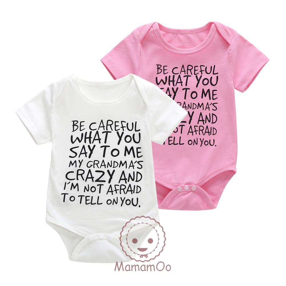 ♥Newborn Baby Short Sleeve Basic Rompers Cute Letters Print Cotton Jumpsuit