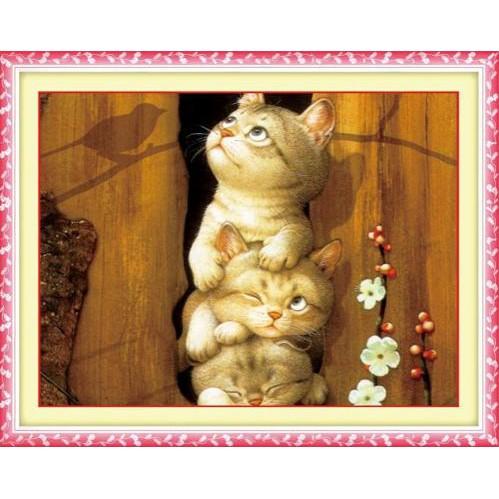 tranh thêu chữ thập thêu kín Ba Chú Mèo Dễ Thương