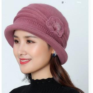mũ len gắn hoa đơn phong cách Hàn cho người trung niên, nón len lông thỏ cao cấp