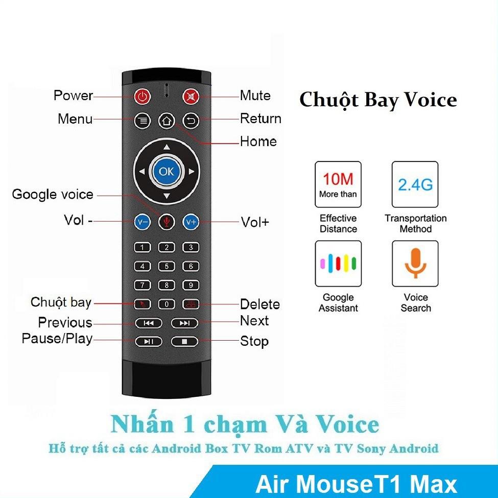 Điều khiển Chuột bay tìm kiếm giọng nói Air Mouse Remote Voice T1 MAX - Tương thích với TV Android, Android Box