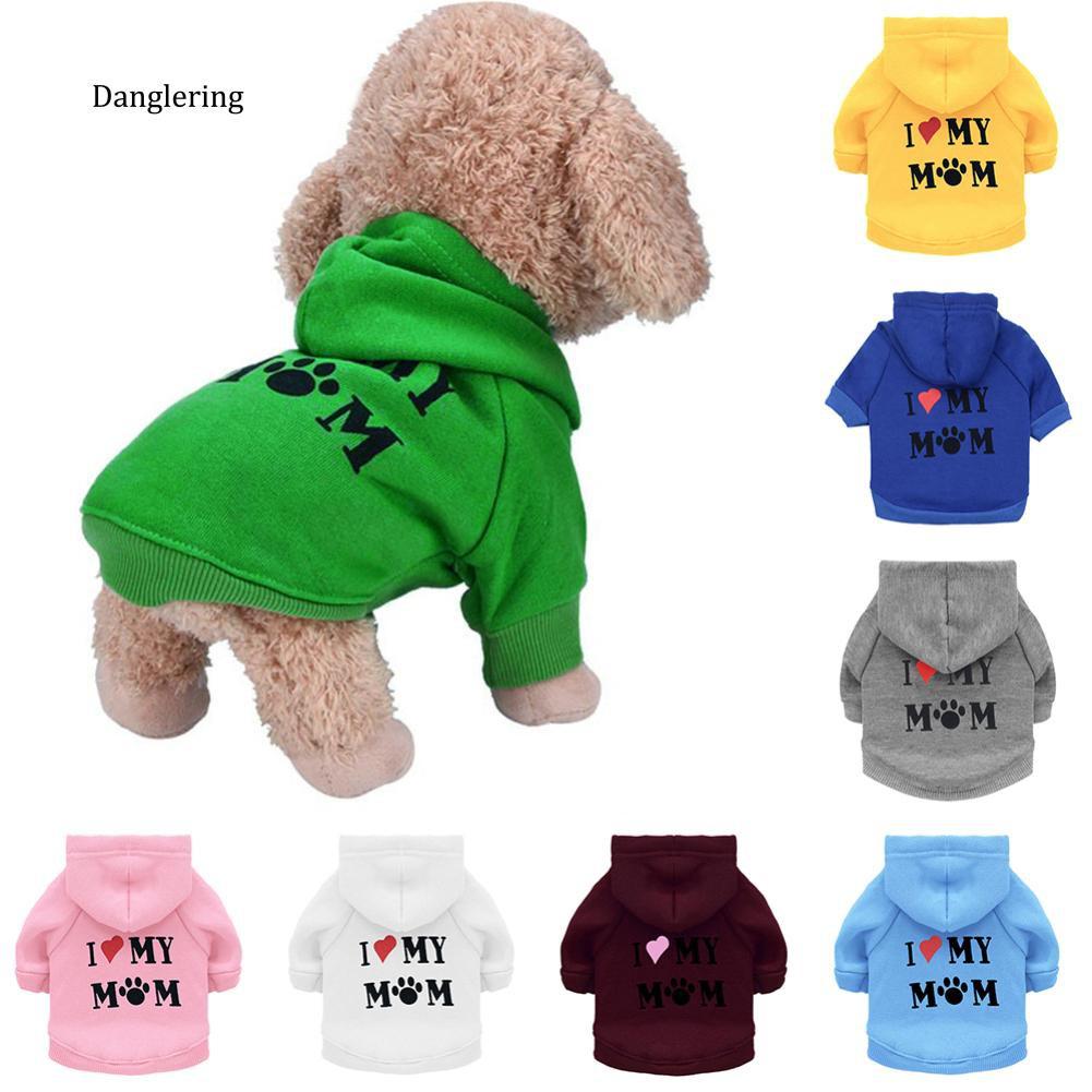 【DGLG】Pet Dog Short Sleeve Hooded T-Shirt I Love My Mom Letter Print Puppy Hoodies