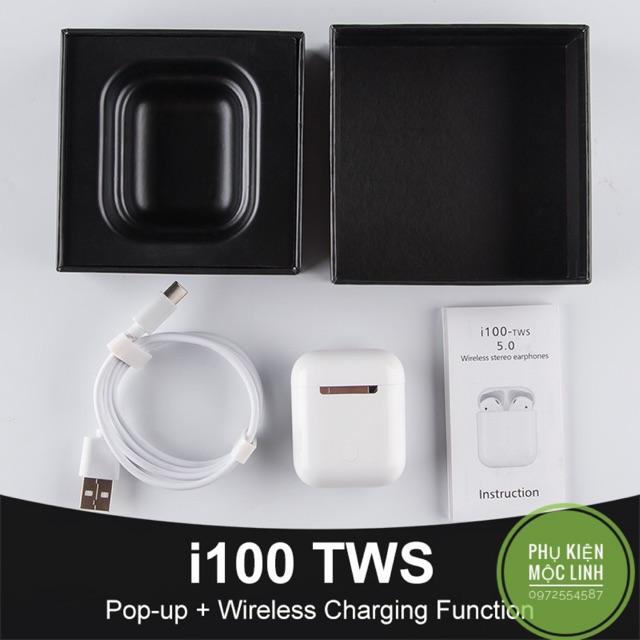 [ BH 6 THÁNG ] Tai nghe Bluetooth I100 TWS 5.0 có cảm ứng dùng được với sạc không dây
