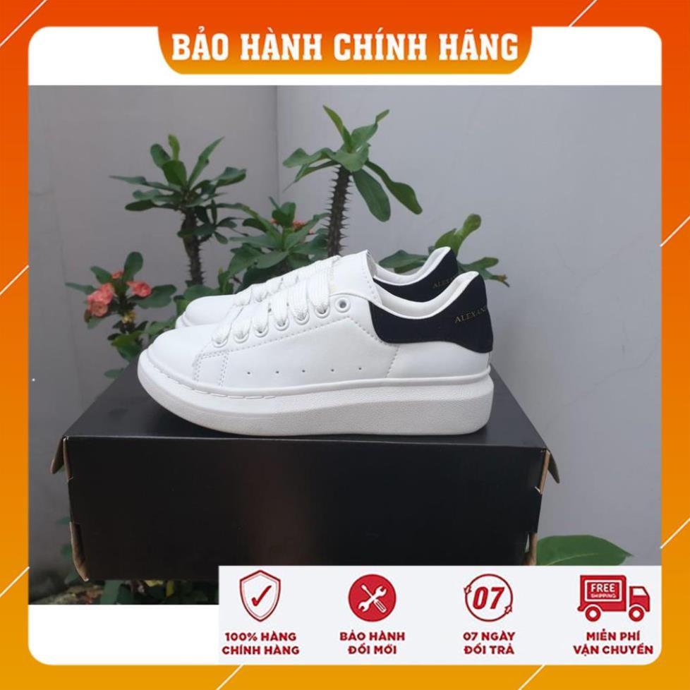[Hộp Chính Hãng]- Giày thể thao,sneakers nam nữ M.C.Q trắng gót đen - Bảo Hành 12 Tháng
