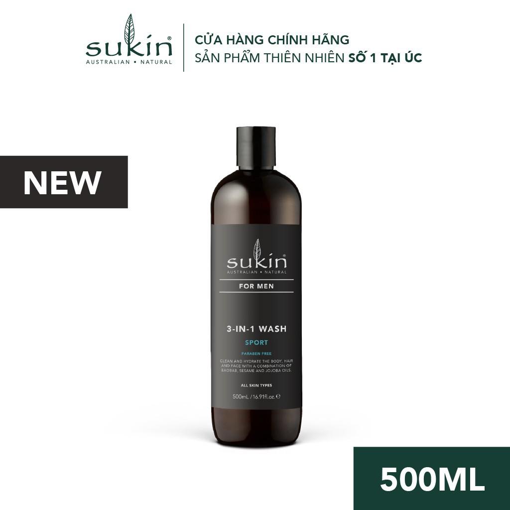 Sản phẩm Làm Sạch 3 in 1 Sukin Hương Thể Thao Dành Cho Nam Sukin For Men Wash Sport 500ml