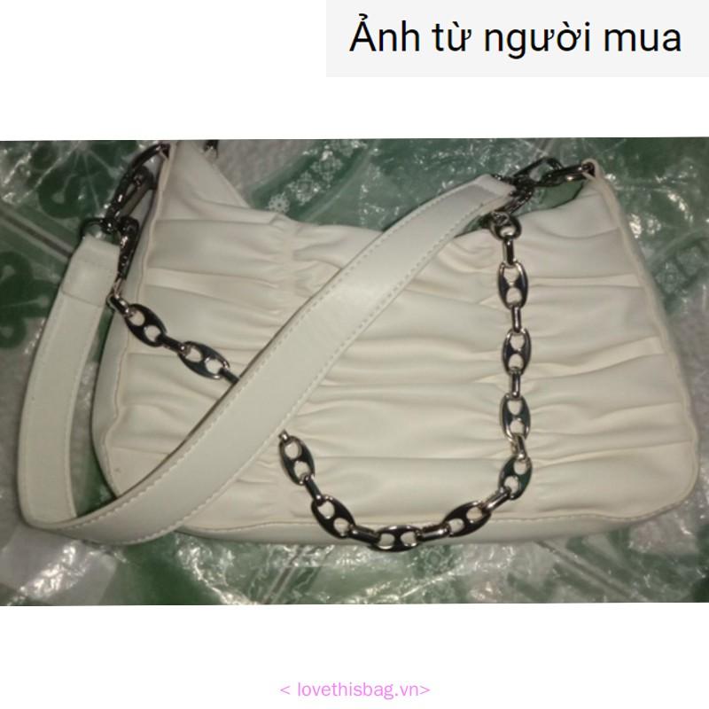 Túi đeo vai hình vuông ngang xếp ly phối dây xích sành điệu cho nữ