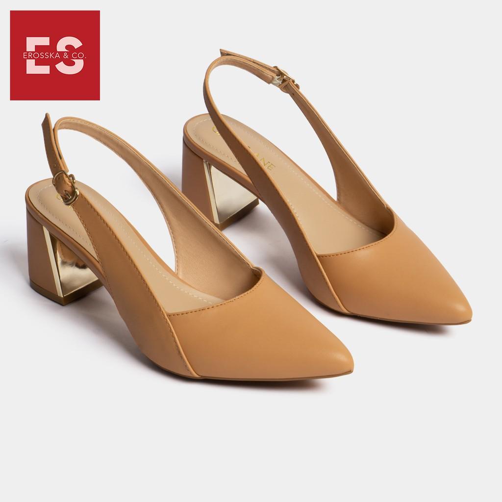 Carl & Ane - Giày cao gót thời trang mũi nhọn phối dây kiểu dáng basic cao 7cm màu bò - CL001