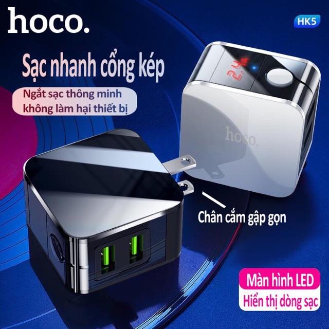Củ sạc nhanh tự ngắt khi đầy 2 cổng sạc usb Hoco HK5 chính hãng có đèn led