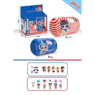 2PCS Blue Red Double Ball Doll Innovation Pop Dolls Surprise Eggs Ball Toys for Chilren