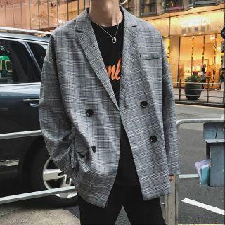 Áo vest blazer kẻ caro form rộng Hàn Quốc