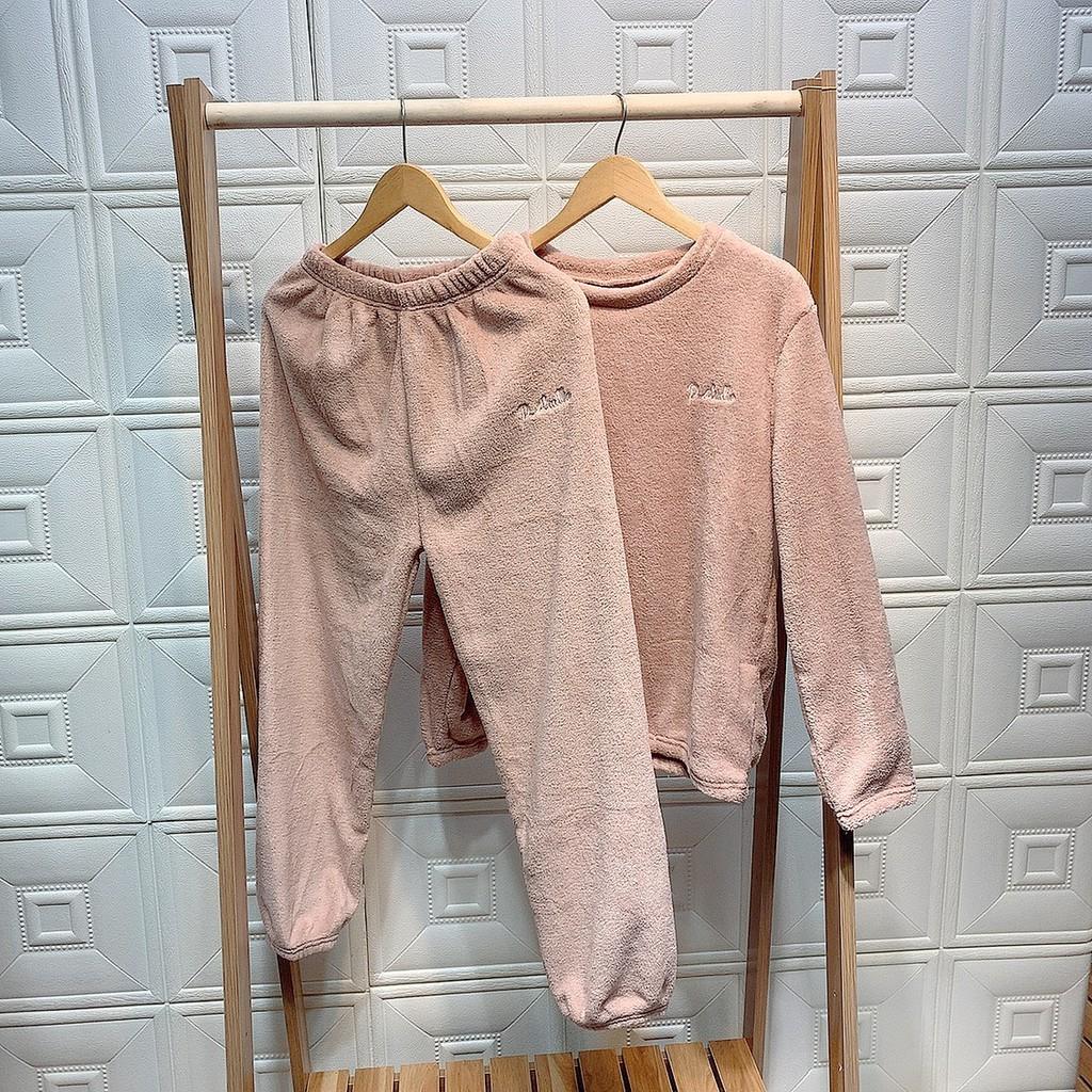 Mặc gì đẹp: Gọn tiện với Bộ nỉ lông thêu chữ D Studio, bộ bông nỉ bộ ngủ nữ mặc ở nhà đồ bộ lông mùa đông 1H12