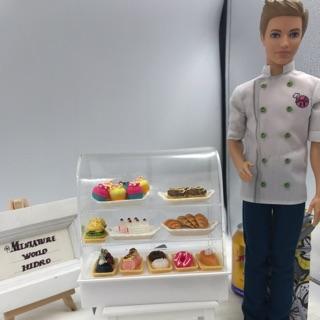 Tủ đựng bánh cho búp bê. Tủ bánh mica mini. Tủ trưng bày bánh. Miniature