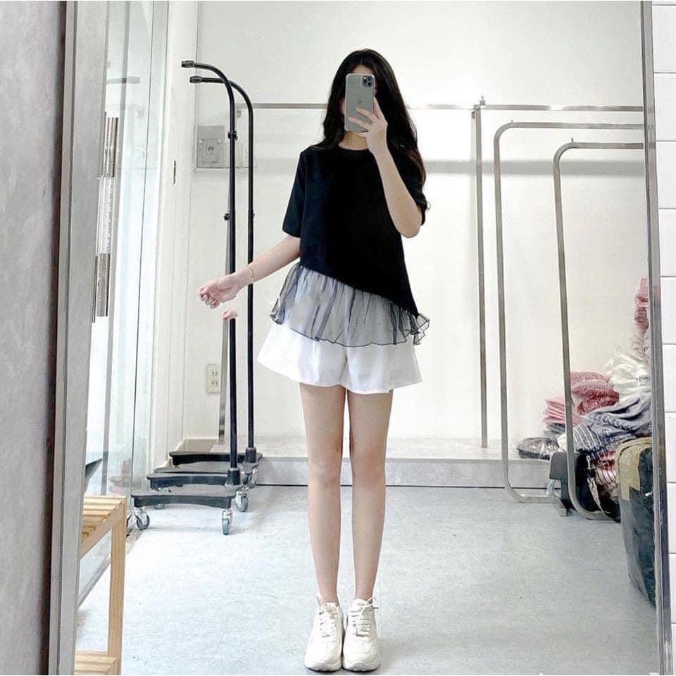[ẢNH THẬT] Set bộ áo đen voan kính kèm quần trắng siêu xinh