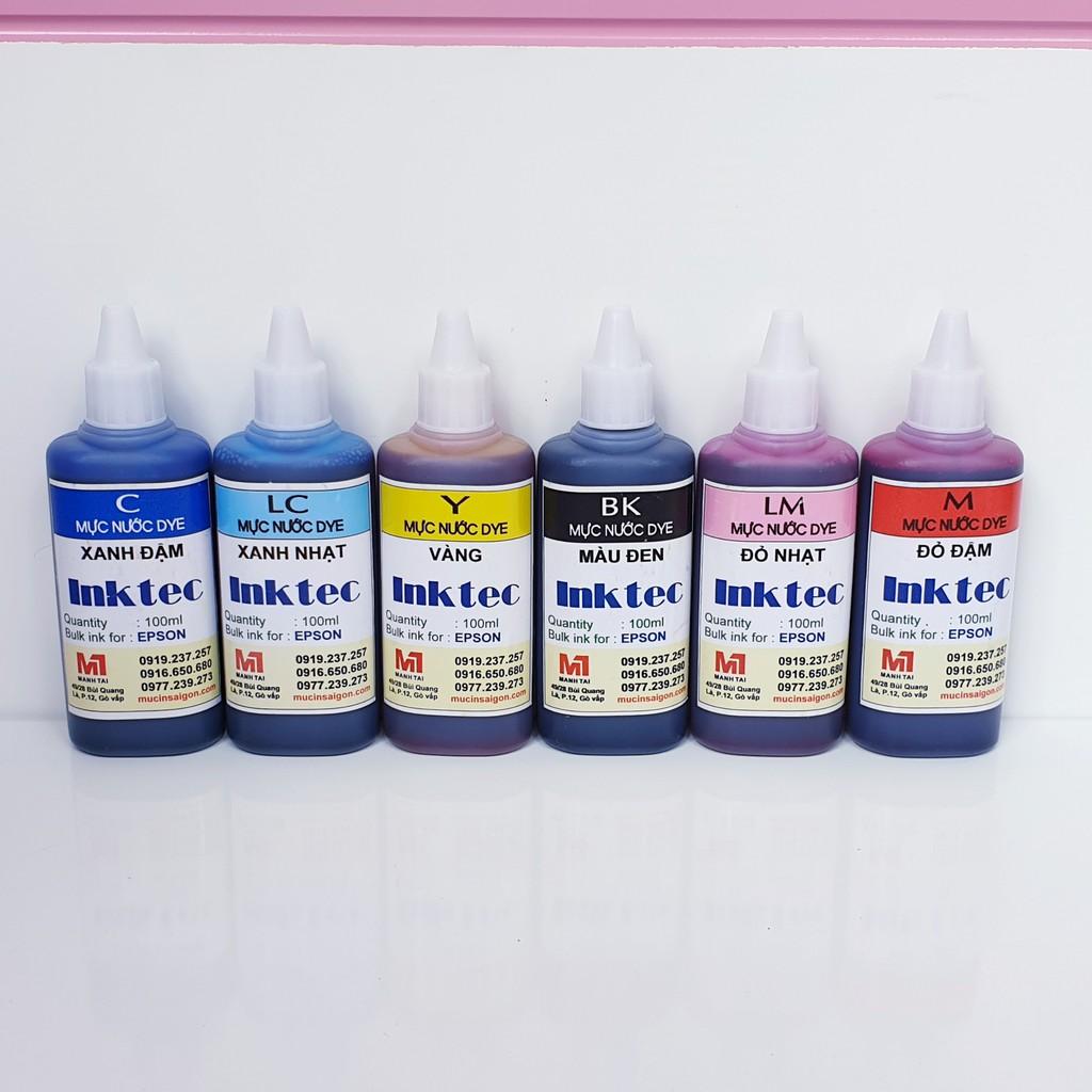 Mực in epson inktec Hàn quốc 100ml - Mực nước dùng cho máy in phun màu Epson T50 / T60 / L310 / L800 / L1800...