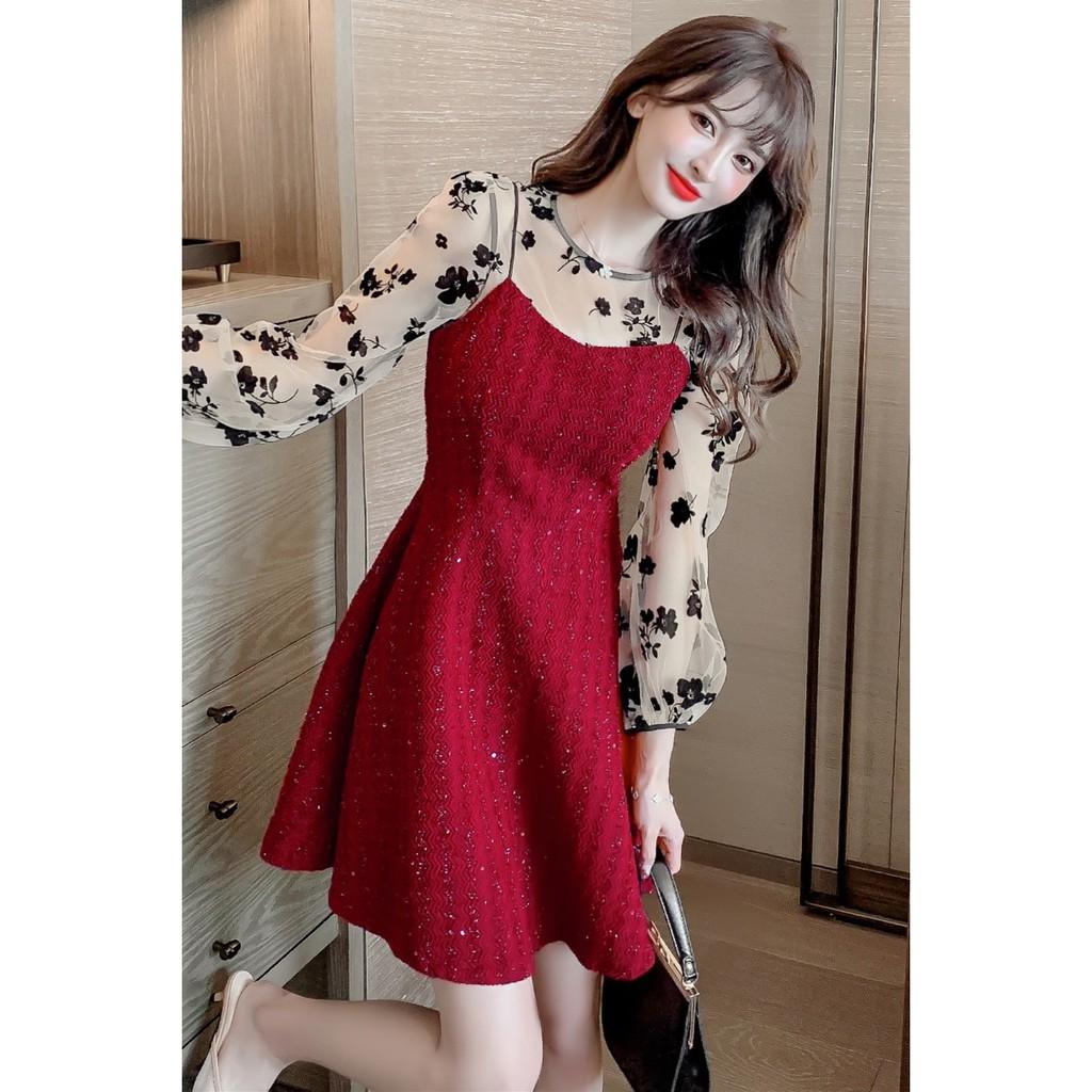 Mặc gì đẹp: Tung bay với (ORDER) Váy xòe dự tiệc tay phối voan hoa tiểu thư điệu đà sang trọng style Hàn Quốc màu đỏ/đen