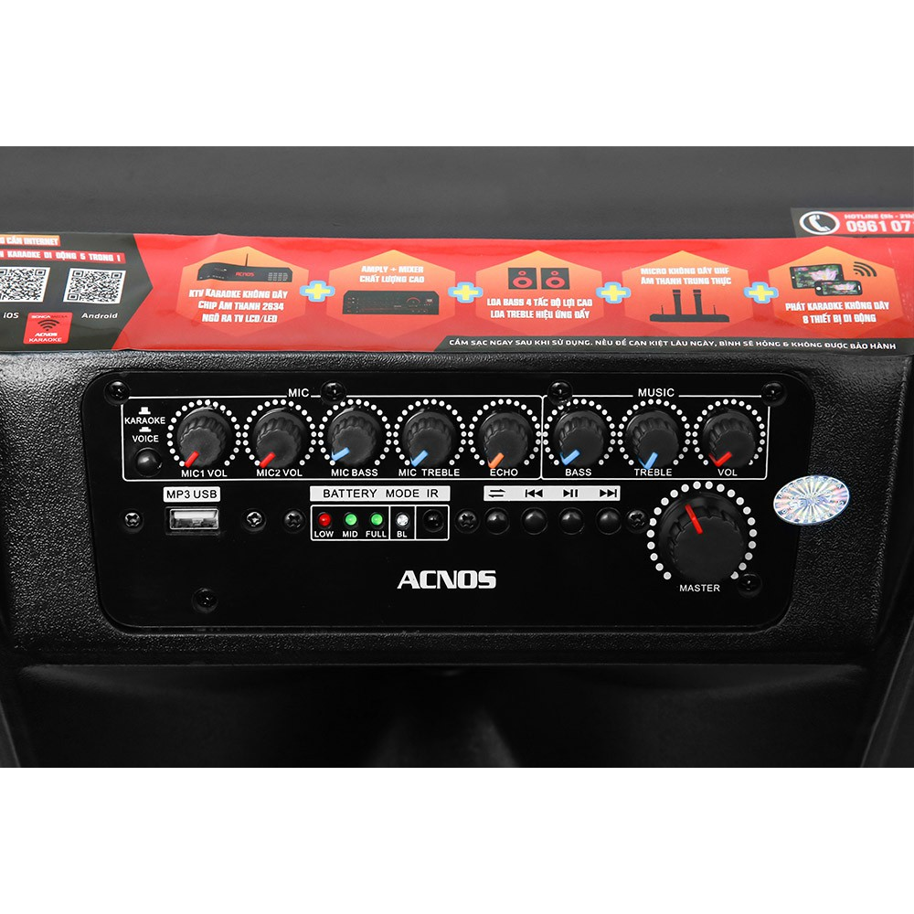 Voucher 100K] Loa Kéo Karaoke Di Động Bluetooth Acnos Kbeatbox KB39S KB39U  100W 4 Tấc, 2 Mic Đi Kèm, Loa Bình Nhựa