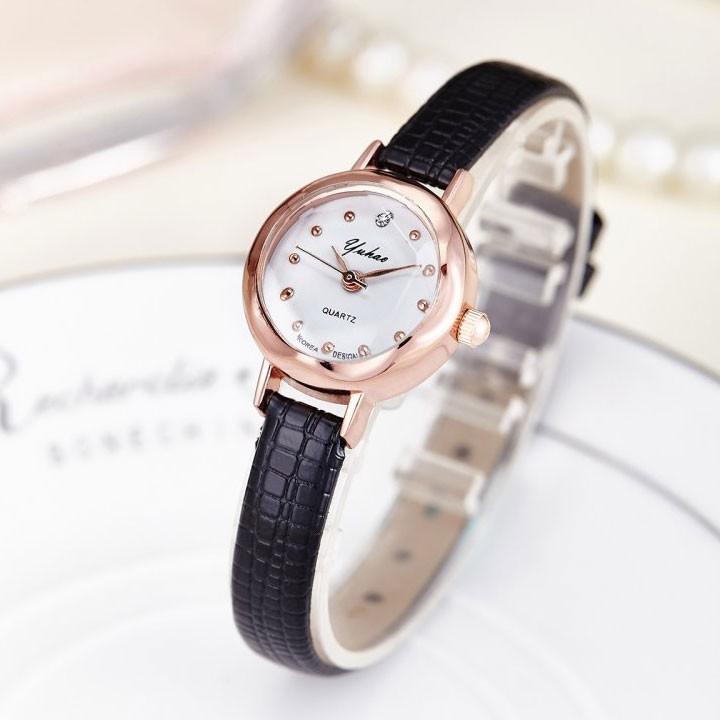 [[Nhập mã GIAH03 giảm 10%]] Đồng hồ nữ Yuhao HSP7101 dây da pu, mặt kính size 21mm