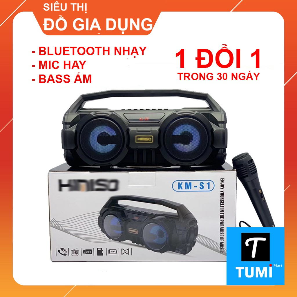 Loa Bluetooth KIMISO KM-S1 Chính hãng - Tặng kèm Mic hát Karaoke - Lỗi đổi mới trong 30 ngày đầu
