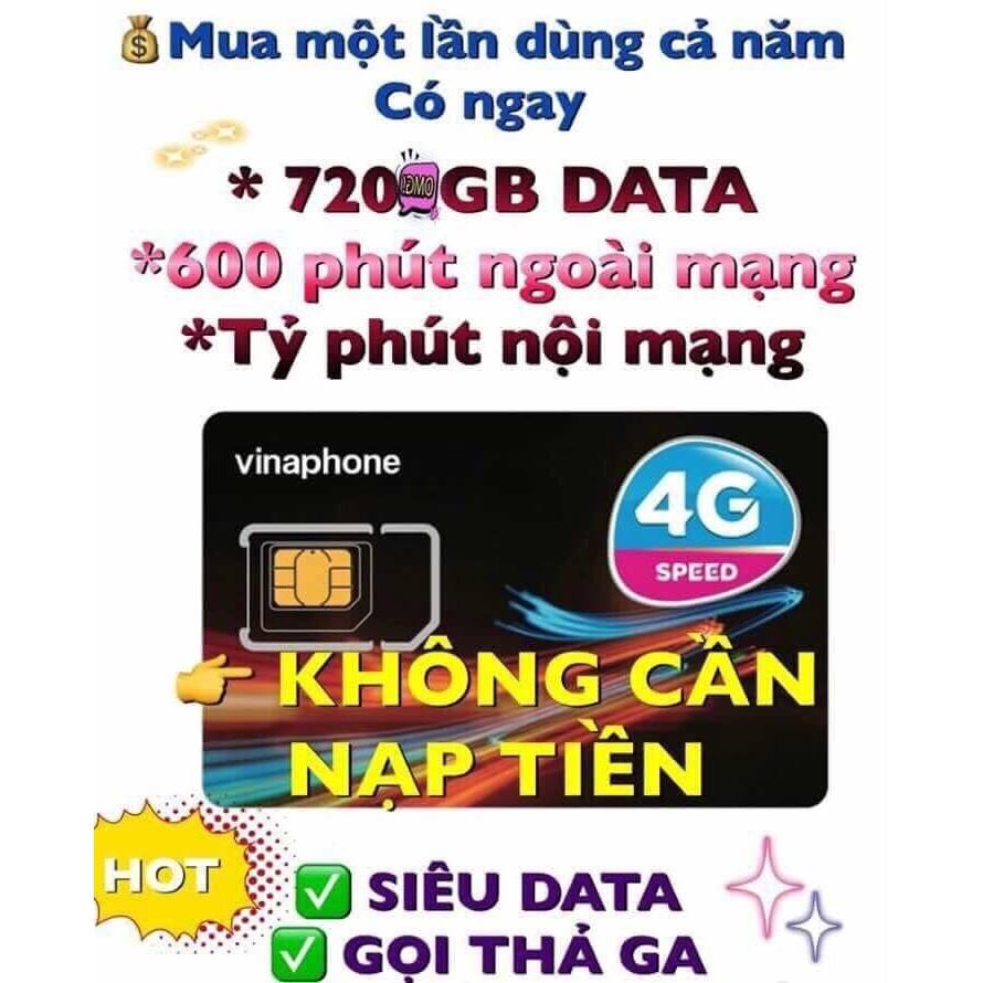 [Miễn phí 12 tháng Data 4G + Gọi] Sim 4g vinaphone tặng 2gb và 4gb/ngày , có video test tốc độ
