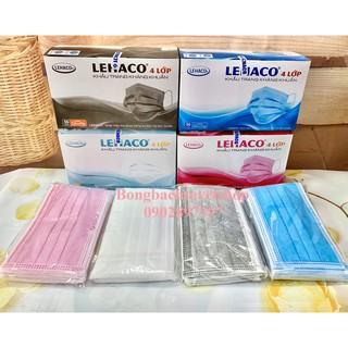 Khẩu trang Lehaco 4 lớp giấy kháng khuẩn màu Xanh / Hồng / Trắng / Xám 50 cái/ hộp