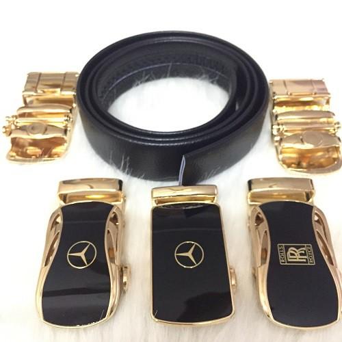Thắt Lưng Da Nam Đẹp Hàng Hiệu Cao Cấp Khóa Tự Động Dây Nịt Nam Da Bò 100% Chính Hãng Mercedes Mạ Vàng Nam Tính GG-1000