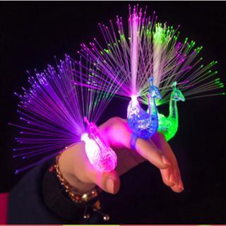 ✅BLS✅New Light Finger Bright Peacock Colorful Change Led Flashing Fiber Optic Lights Kid's Toys Gift