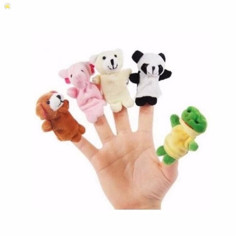 [Bán hết]Bộ thú rối 5 con xỏ ngón tay bằng vải cao cấp cho bé nhận biết màu sắc con...
