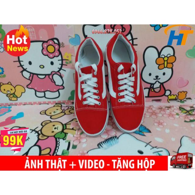 ⚡[freeship đơn hàng từ 99k] Giày thể thao vans đỏ tươi Nam Nữ