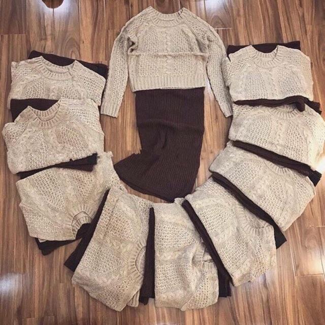 Set áo và chân váy len phong cách Hàn Quốc ♥️