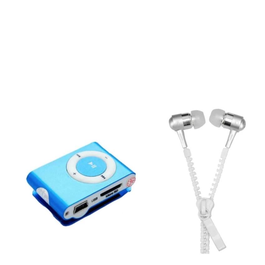 Bộ 1 máy nghe nhạc MP3 mini (màu ngẫu nhiên) và 1 Tai nghe dây kéo màu trắng