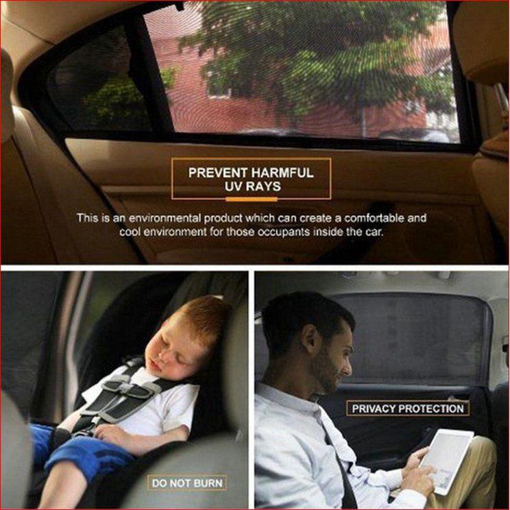 [ QUAN AO COD 100 ] Silk Polyester Durable 2Pcs Car Window Protector Black mẫu CITOX09