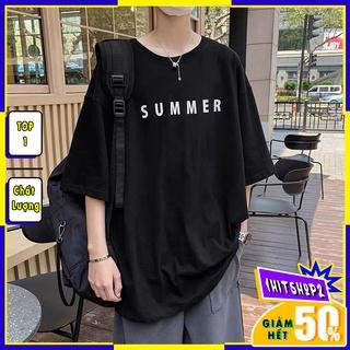 Áo thun unisex tay lỡ nam nữ form rộng ,áo phông phong cách SUMMER basic tee A105