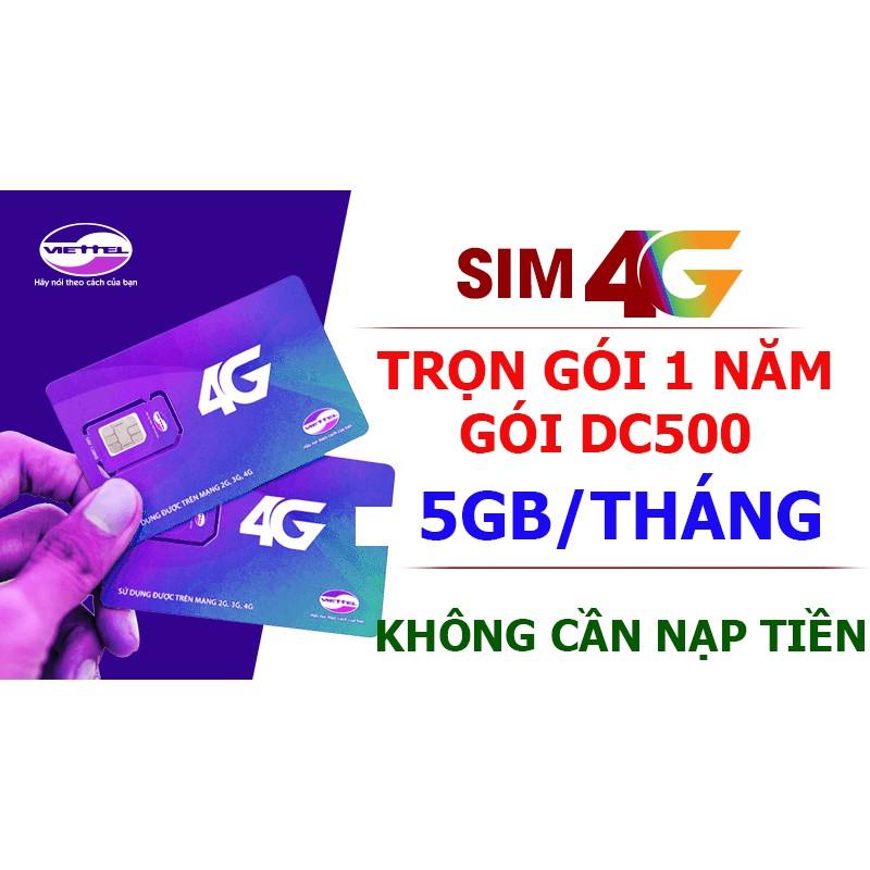Sim 4G Viettel trọn gói 1 năm (5GB/tháng - Gói DC500)