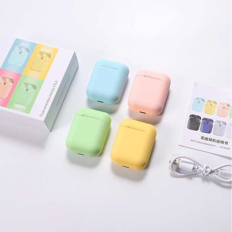 Wireless Bluetooth 5.0 Earbuds inpods12 Fashion Multicolor Fine Scrub Stereo Earphone