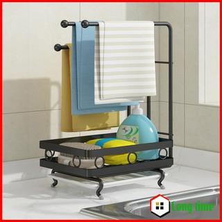 Giá để đồ rửa bát, giá treo khăn lau bếp kèm khay hứng nước thông minh