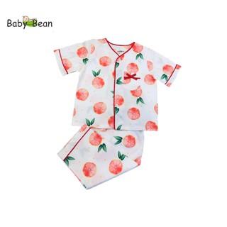 [Mã KIDMALL15 hoàn 15% xu đơn 150K] Đồ bộ Pyjama cổ tim cho bé gái họa tiết cam Baby Bean