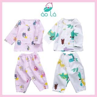 Bộ pijamas dài tay mặc ngủ cho bé vải cotton xô hai lớp Áo Lá Homewear size 10kg-30kg