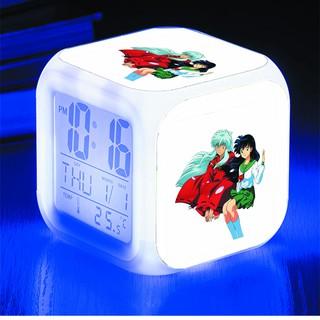 Đồng hồ báo thức để bàn in hình Inuyasha Khuyển Dạ Xoa anime chibi LED đổi màu
