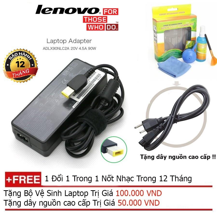 SẠC LAPTOP Lenovo 20V-4.5A Chân vuông + Tặng dây nguồn dài 1.8m, bộ vệ sinh laptop Giá chỉ 330.000₫
