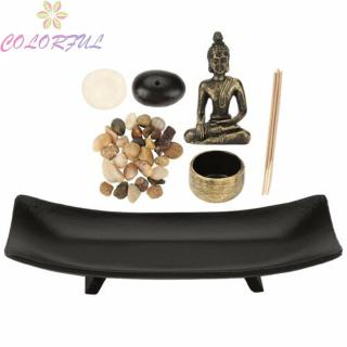 Durable Ornament Decoration 25.5*9.8*4cm Meditation Candles Stone Resin Buddhism Burner Sand Candlestick Incense Holder