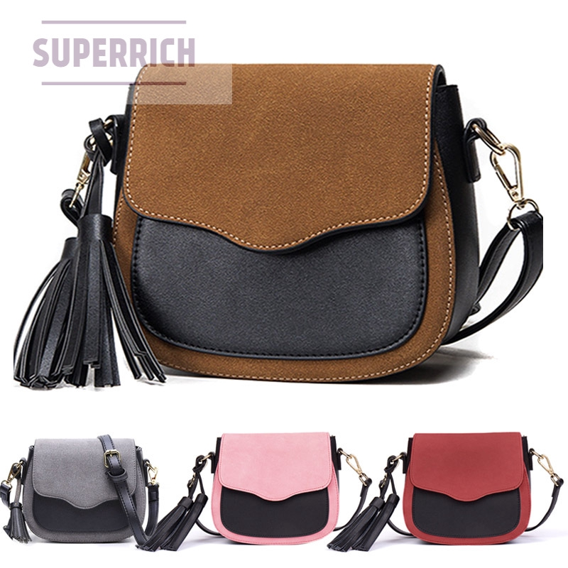 Retro Handbags Mini Square Package Splicing Hit-color Tassel Small Package Scrub Shoulder Bag